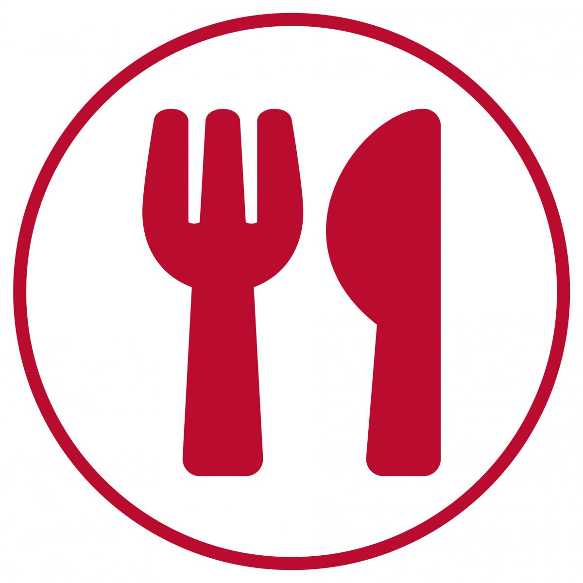Red circle with a knife and fork.