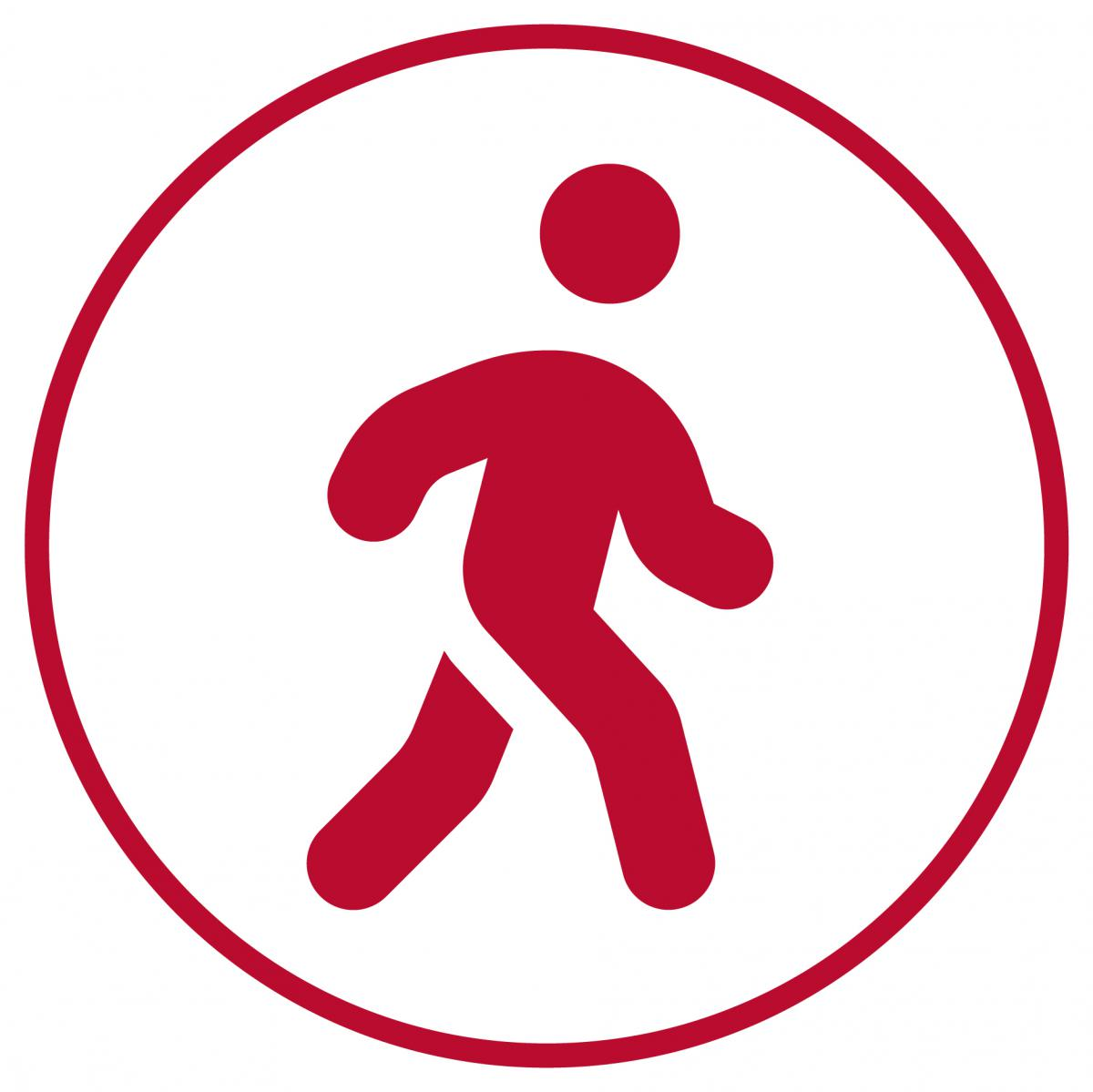 Red circle with a person walking.