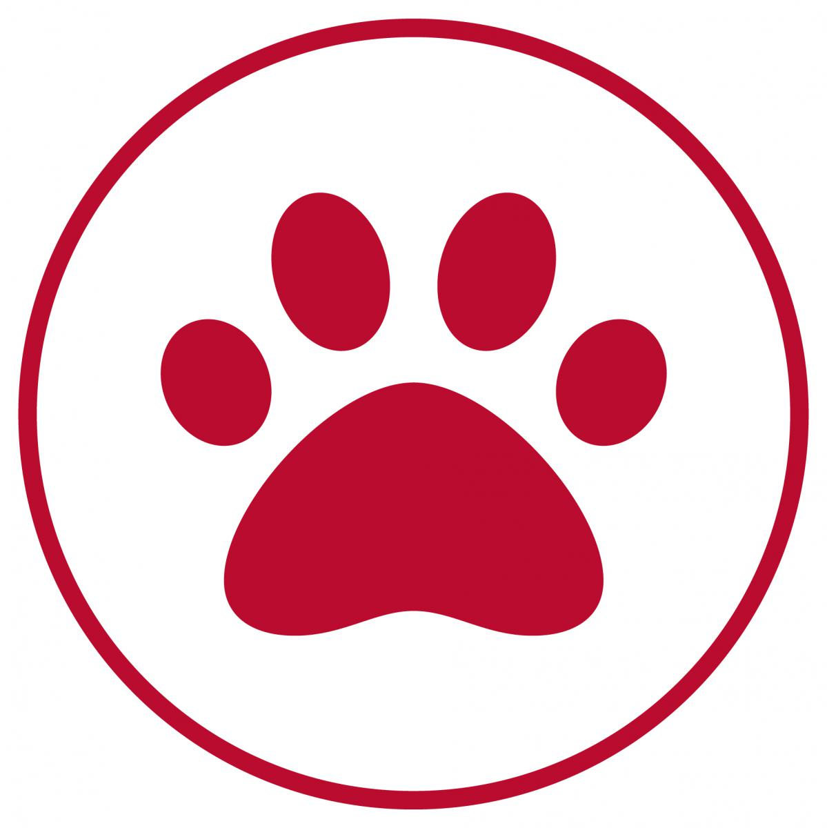 Red circle with a paw.